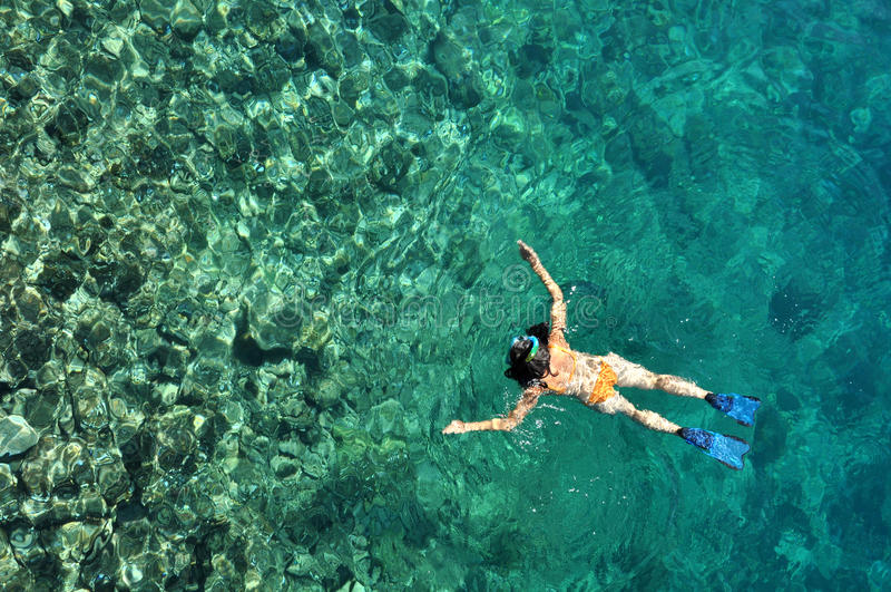 潜航在披披岛,普吉岛,泰国的妇女 免版税库存图片