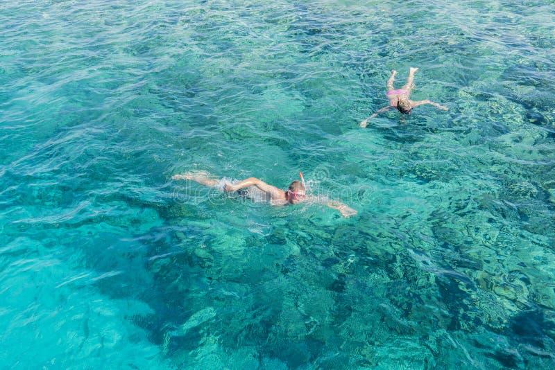 潜航在热带水中的男人和妇女在度假 妇女游泳在蓝色海 正面潜航的面具的潜航的女孩 免版税库存图片