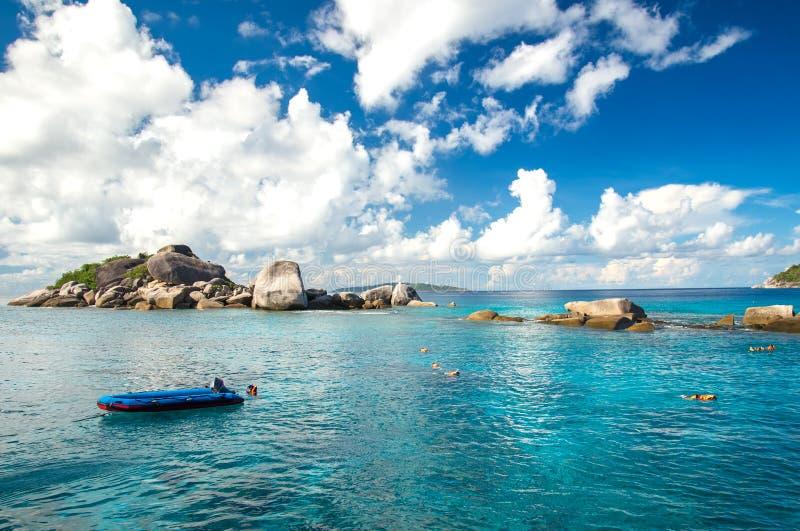 潜航在Si米兰海岛上在安达曼海,泰国 免版税库存照片
