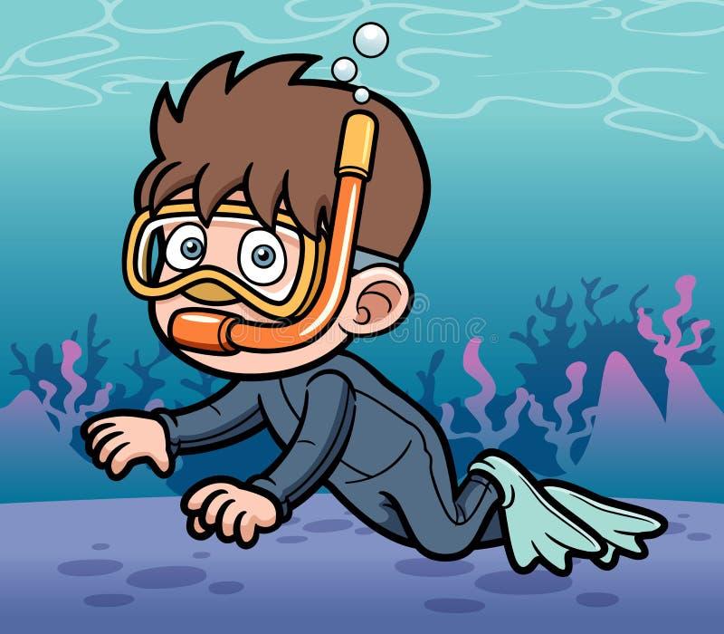 潜航的孩子 库存例证