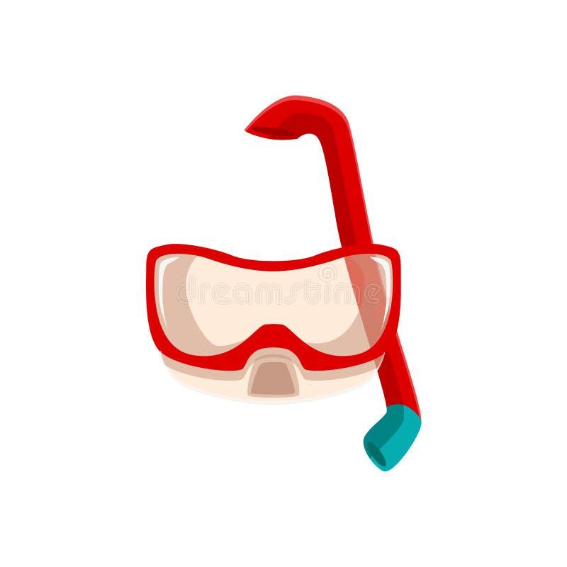 潜航,佩戴水肺的潜水面具和呼吸管 向量例证
