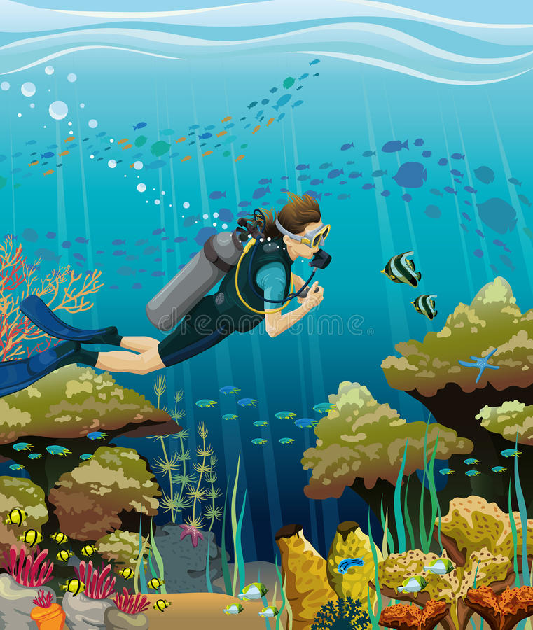 轻潜水员和珊瑚礁 库存例证