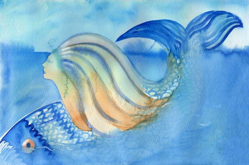 潜水在抽象水彩绘画下的美人鱼和鱼。 向量例证