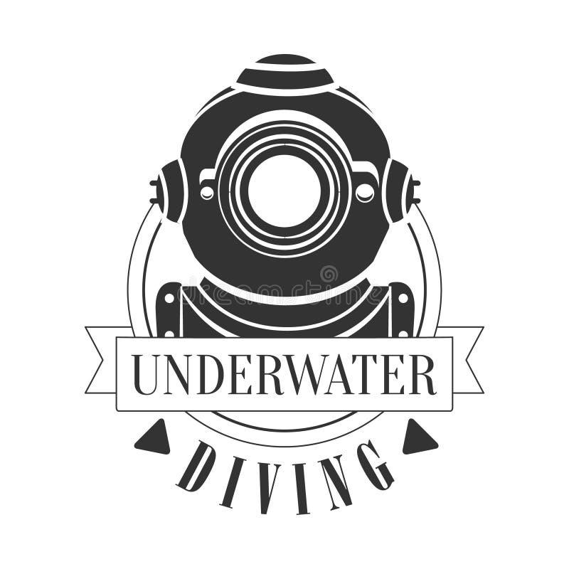 潜水的水下的葡萄酒商标 Tiget 向量例证