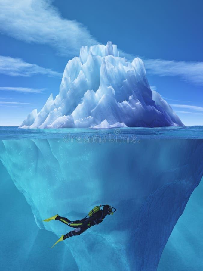 潜水者游泳 向量例证