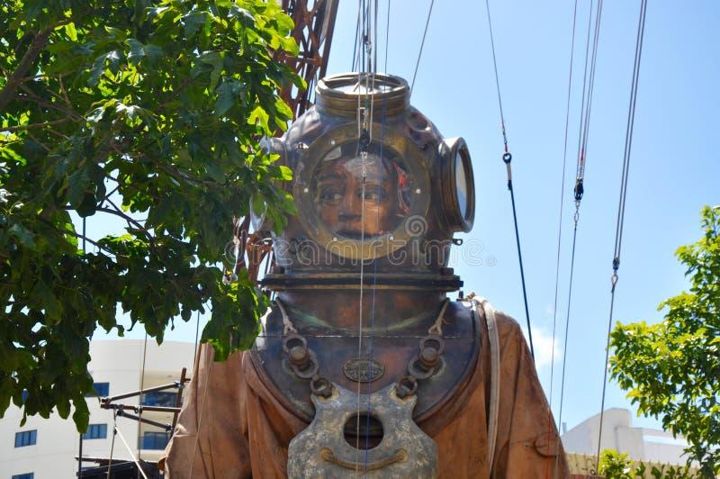 潜水者牵线木偶特写镜头:巨人的旅途:珀斯,澳大利亚 图库摄影