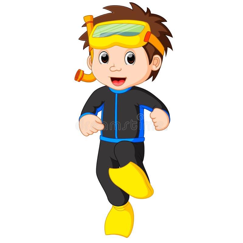 潜水者男孩动画片 向量例证