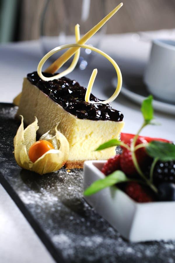潮湿蓝莓的蛋糕 库存图片