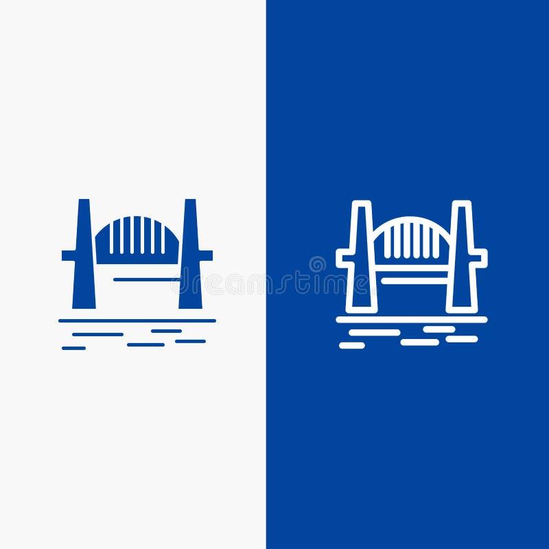澳大利亚、桥梁,城市集合,港口、悉尼线和纵的沟纹坚实象蓝色旗和纵的沟纹坚实象蓝色横幅 皇族释放例证