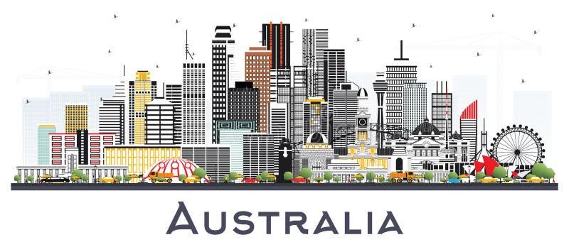 澳大利亚与在白色隔绝的灰色大厦的市地平线 皇族释放例证