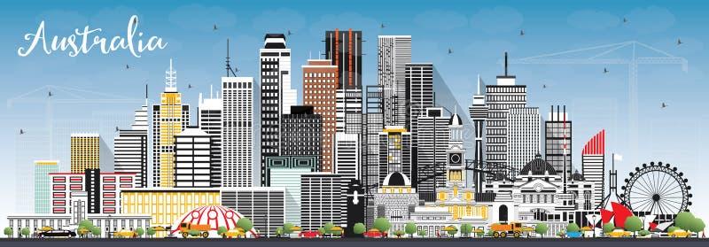 澳大利亚与灰色大厦和天空蔚蓝的市地平线 向量例证