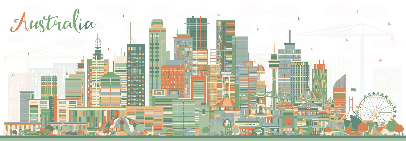 澳大利亚与颜色大厦的市地平线 库存例证