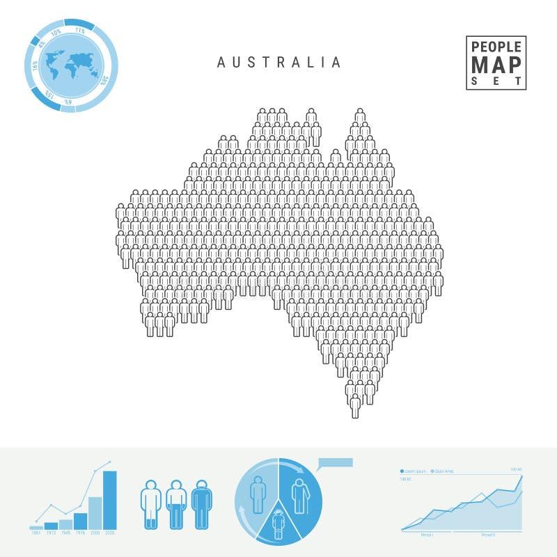 澳大利亚人象地图 澳大利亚的风格化传染媒介剪影 人口增长和老化Infographic元素 皇族释放例证