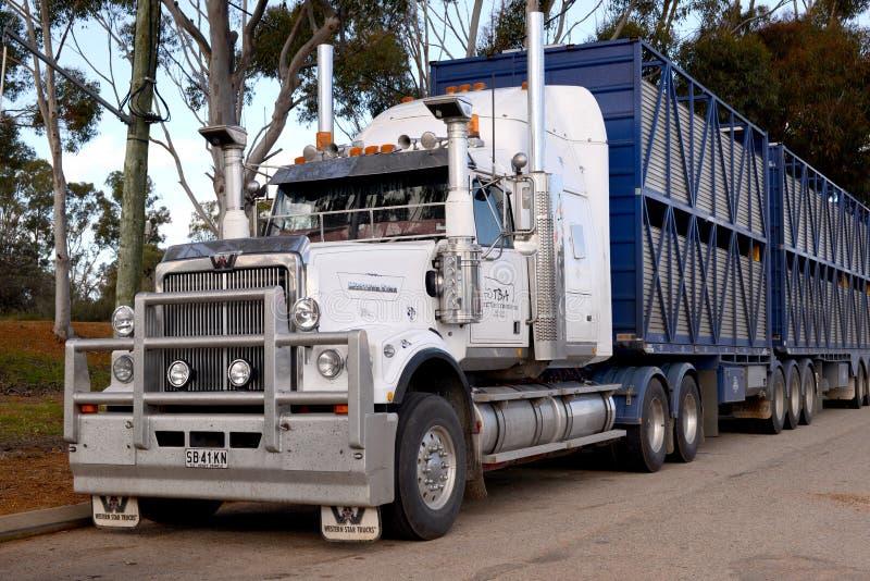 澳大利亚公路列车西部星船具和拖车 免版税库存照片