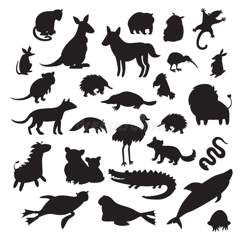 澳大利亚动物剪影,隔绝在白色背景传染媒介例证 向量例证