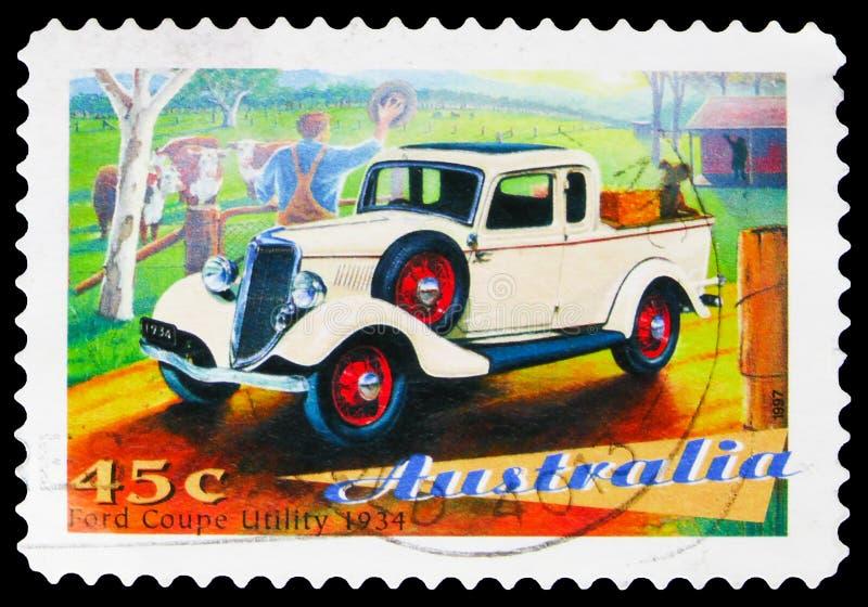 澳大利亚印刷的邮票显示,福特库佩实用型1934款,澳大利亚经典汽车系列,大约1997年 免版税库存图片