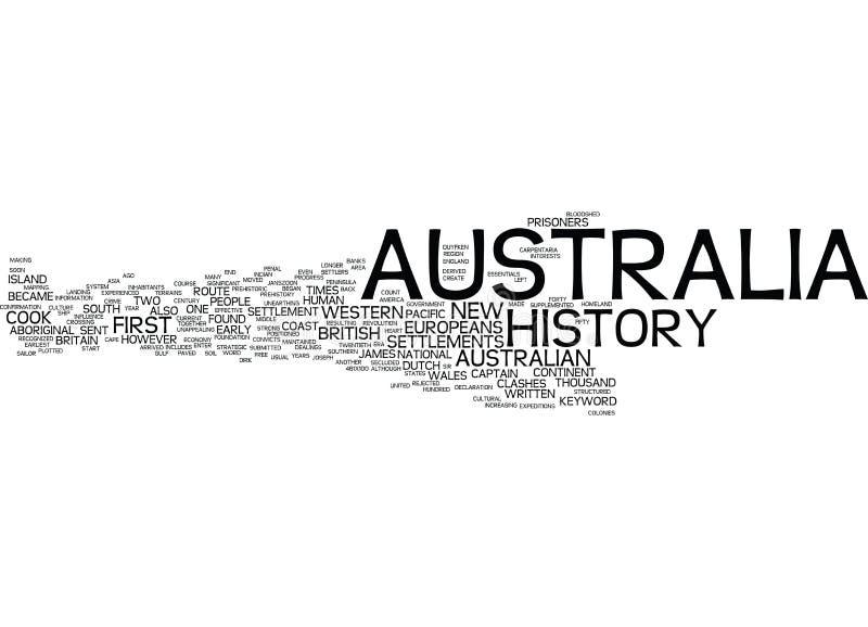 澳大利亚历史词云彩概念 库存图片