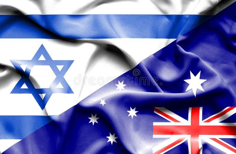 澳大利亚和以色列的挥动的旗子 向量例证