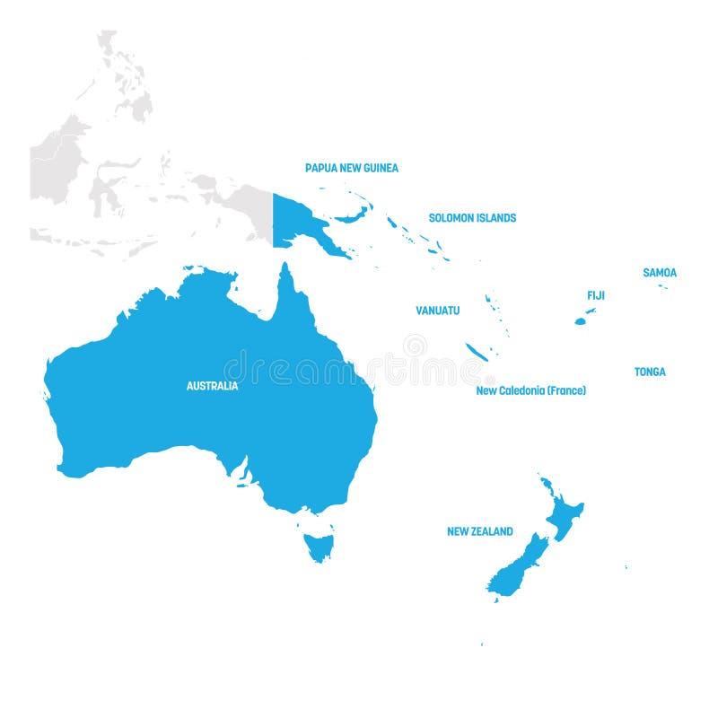 澳大利亚和大洋洲地区 国家地图在南太平洋 也corel凹道例证向量 向量例证
