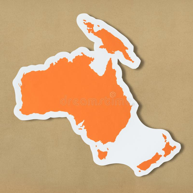 澳大利亚和大洋洲自由空白的地图  图库摄影