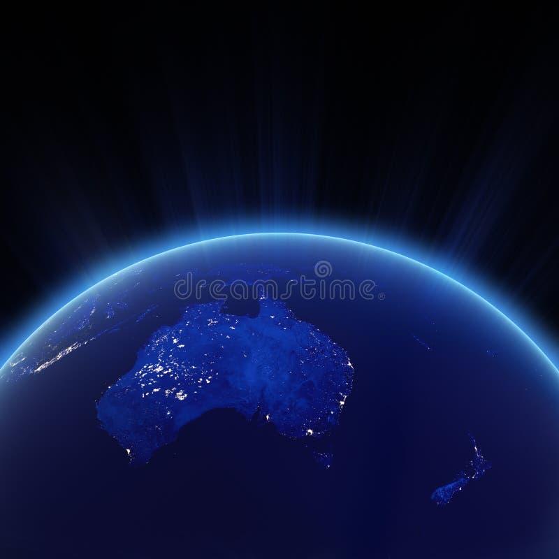澳大利亚和新的Zeland市在晚上点燃 库存例证