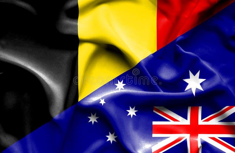 澳大利亚和比利时的挥动的旗子 皇族释放例证