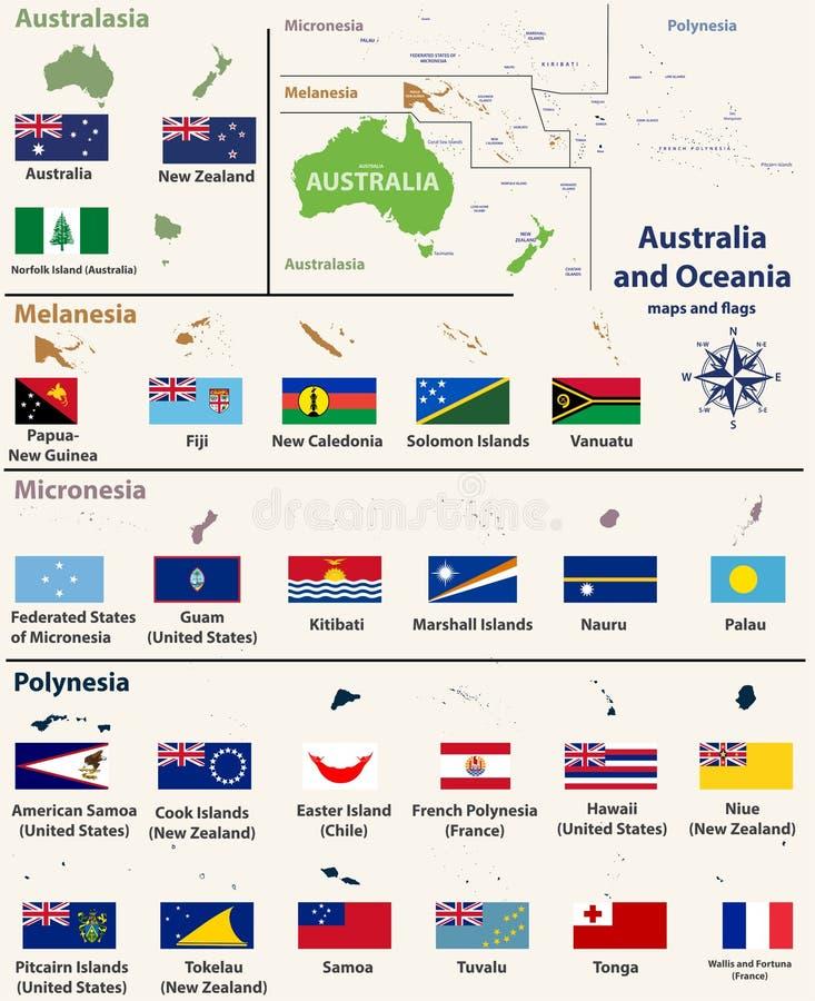 澳大利亚和Oceaniainclude澳大利西亚,密克罗尼西亚、美拉尼西亚和波里尼西亚映射与被隔绝的国家地图和旗子 皇族释放例证