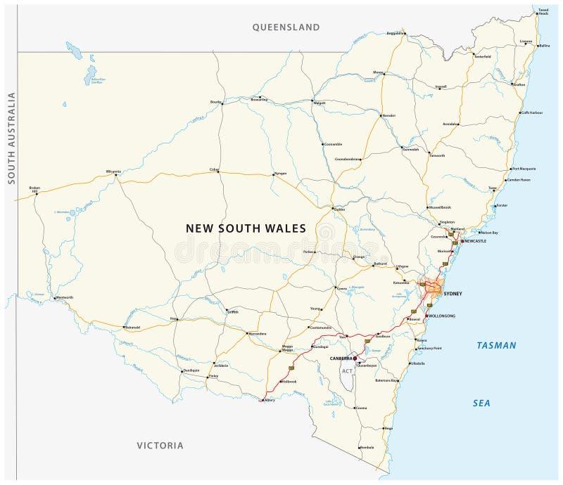 澳大利亚国家新南威尔斯地图的路线图 向量例证