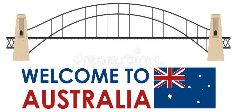 澳大利亚在白色背景的港口桥梁 库存例证
