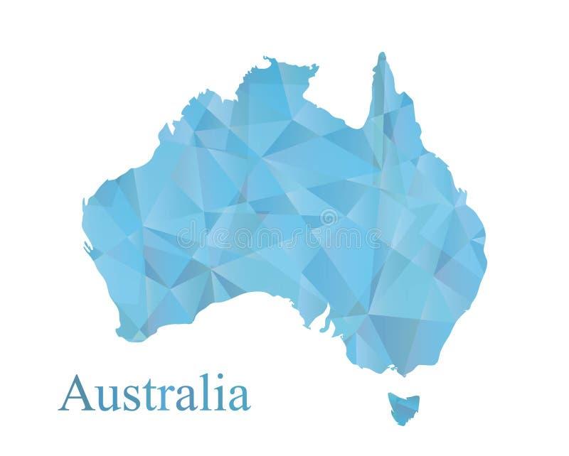 澳大利亚在蓝色低多角形样式的地图象 抽象几何嵌石装饰,现代传染媒介设计 皇族释放例证
