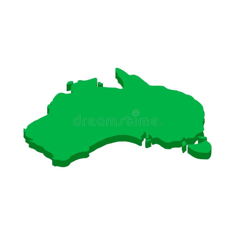 澳大利亚地图象,等量3d样式 向量例证