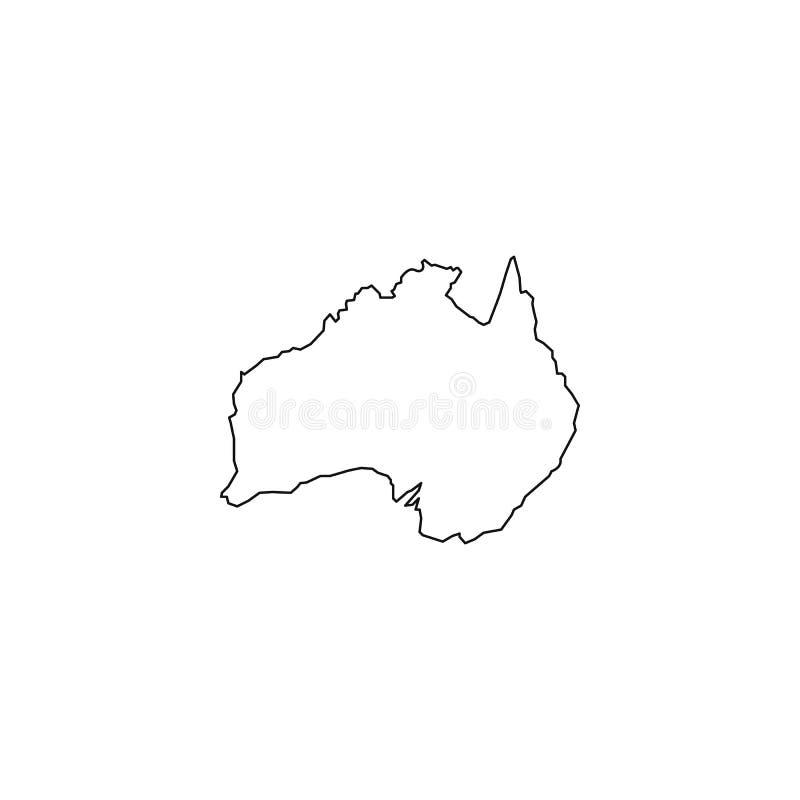 澳大利亚地图象 平的简单的黑设计 eps10开花橙色模式缝制的rac ric缝的镶边修整向量墙纸黄色 向量例证