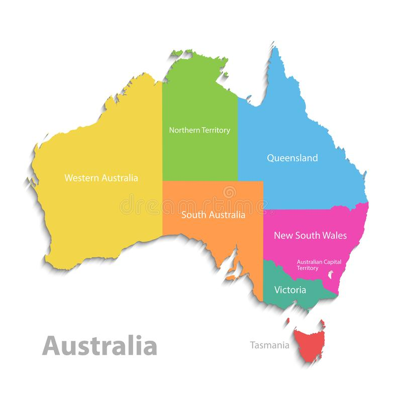澳大利亚地图,新的政治详细的地图,分开的各自的状态,当状态名字,被隔绝在白色背景3D 库存例证