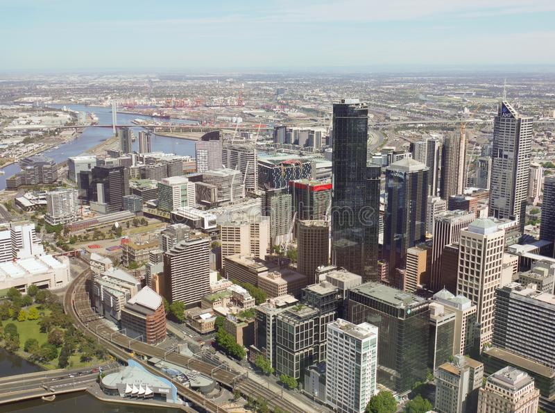 澳大利亚城市墨尔本的看法 库存照片