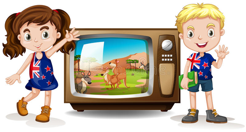Download 澳大利亚女孩和男孩挥动 库存例证. 插画 包括有 子项, 男朋友, 对象, 童年, 国家, 背包, 袋鼠 - 59108132