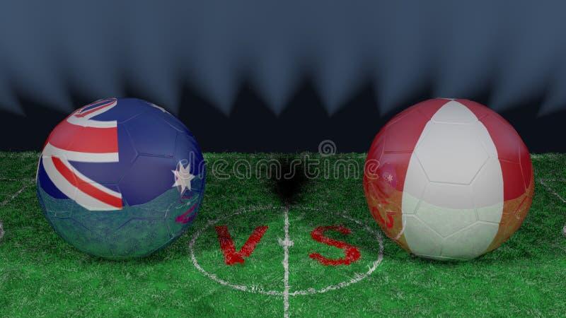 澳大利亚对秘鲁 2018年世界杯足球赛 原始的3D图象 皇族释放例证