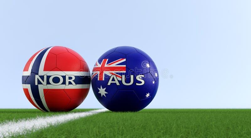 澳大利亚对 挪威足球比赛-在澳大利亚和挪威全国颜色的足球在足球场 库存例证