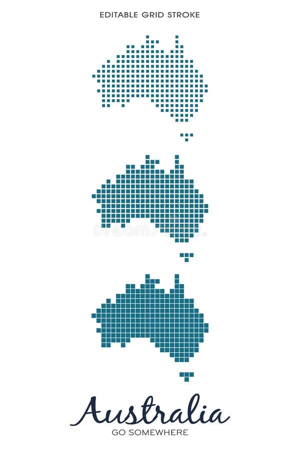 澳大利亚小点地图-编辑可能的栅格冲程 皇族释放例证