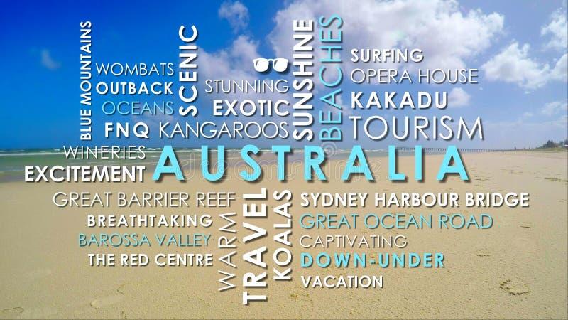 澳大利亚旅游业关系了词赋予生命的文本词云彩 库存照片