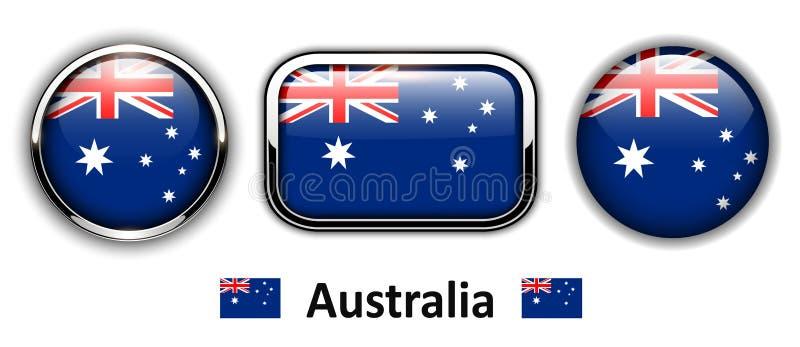 澳大利亚旗子按钮 皇族释放例证