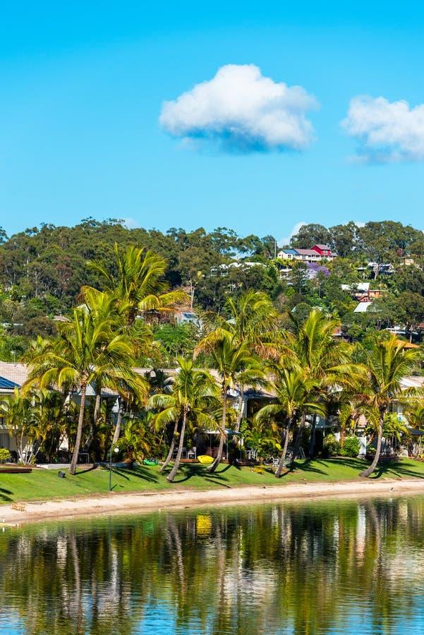 澳大利亚昆士兰黄金海岸的海岸线 垂直 免版税库存图片