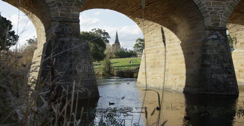 澳大利亚殖民地石桥梁 免版税库存图片