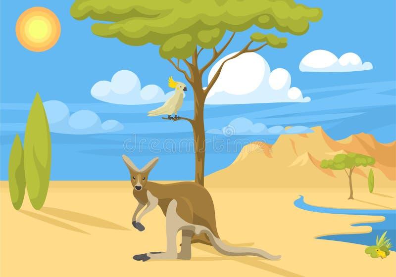 澳大利亚狂放的背景风景动物动画片普遍的自然平的样式澳大利亚当地森林传染媒介 库存例证