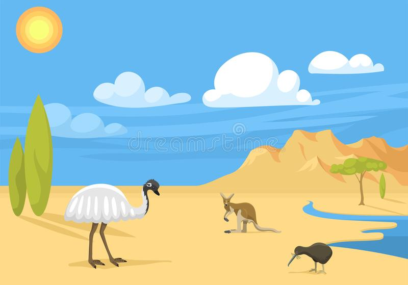 澳大利亚狂放的背景风景动物动画片普遍的自然平的样式澳大利亚当地森林传染媒介 向量例证
