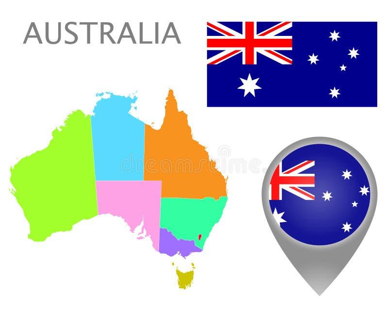 澳大利亚的五颜六色的旗子、地图尖和地图有管理部门的 皇族释放例证