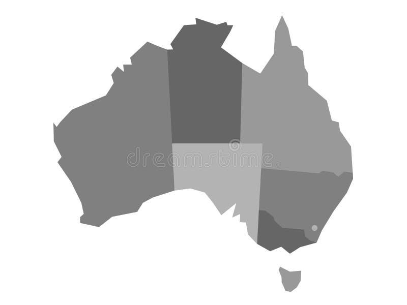 澳大利亚的传染媒介灰色空白的地图 库存例证