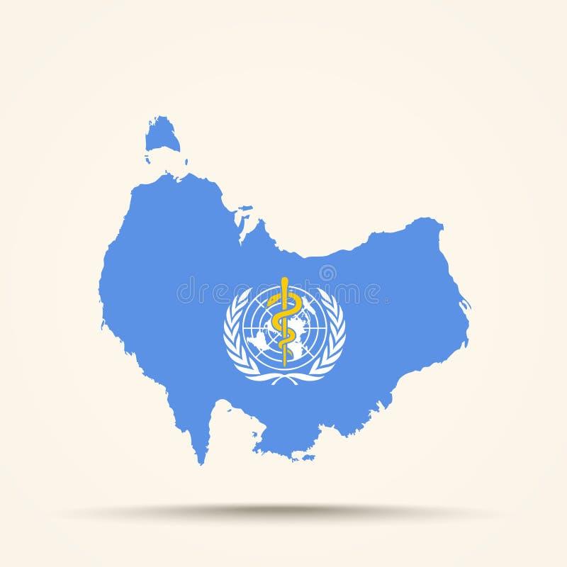 澳大利亚的地图世界卫生组织旗子颜色的 库存例证