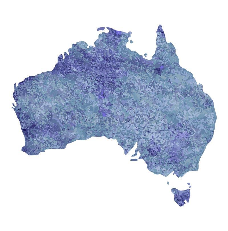 澳大利亚的地图有紫罗兰色油漆纹理的与浅灰色和蓝色斑点 油漆 皇族释放例证