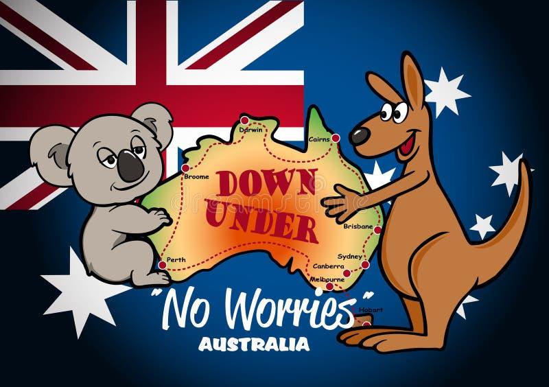 澳大利亚的地图有考拉袋鼠和旗子的 库存例证