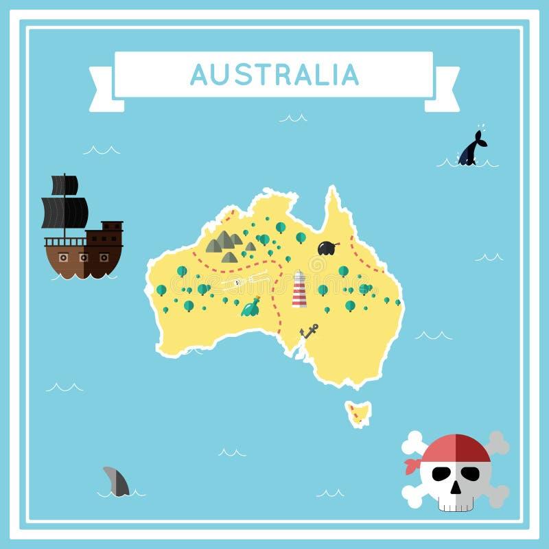 澳大利亚的平的珍宝地图 库存例证